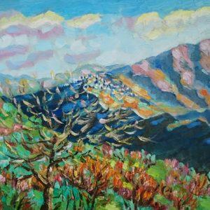 Ligurische Alpen zonnige nieuwjaarsdag 2016 Olieverf op paneel - 24 x 30 cm