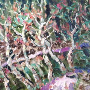 Ligurische Alpen wegje terug van Bajardo Olieverf op paneel -24 x 30 cm