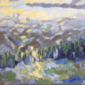 Ligurische Alpen morgenzon Olieverf op paneel - 24 x 30 cm