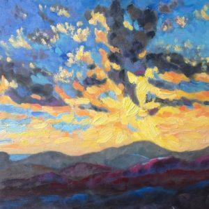 Ligurische Alpen hemelvuur Olieverf op paneel - 24 x 30 cm