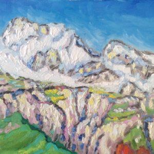 Ligurische Alpen besneeuwde Monte Toraggio Olieverf op linnen - 24 x 30 cm