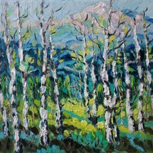 Ligurische Alpen berken Olieverf op linnen - 24 x 30 cm