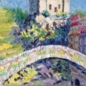 Dolceaqua Ponte Vecchio Olieverf op linnen - 24 x 30 cm