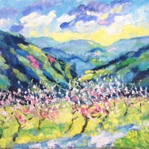 Ligurië Vallei rivier Nervia Olieverf op linnen - 24 x 30 cm