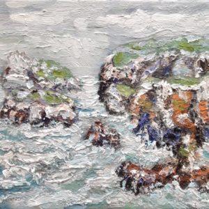 Pointe du Van Finistere bewolkt Olieverf op linnen - 24 x 33 cm