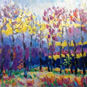 Bos in Monts d'Arrée Bretagne Olieverf op linnen - 30 x 40 cm