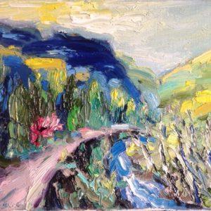 Nervia Vallei Ligurië Olieverf op linnen - 24 X 30 cm