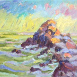 Lesconil rochers olieverf  op linnen - 33 x 41 cm