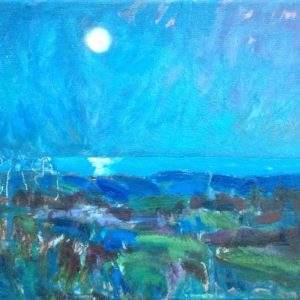 Pleine lune Treffiagat Bretagne Olieverf op linnen - 24 x 30 cm