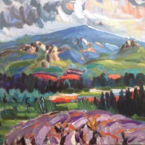 Dentelles et Mont Ventoux Olieverf op linnen - 60 x 80 cm