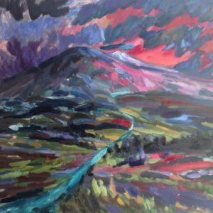Mont Ventoux hiver soleil couchant Olieverf op linnen - 81 x 100 cm