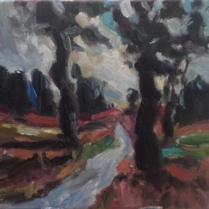 Route de campagne Pays du Comtat Olieverf op linnen - 30 x 40 cm