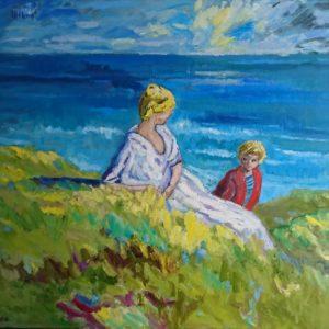 Sur les falaises Carolles Normandie Olieverf op linnen - 81 x 100 cm