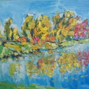 Bolwerk Middelburg herfst Olieverf op linnen - 24 x 30 cm