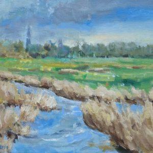 Cleene Hooge Middelburg april Olieverf op linnen - 24 x 30 cm