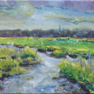 Cleene Hooge Middelburg mei Olieverf op linnen - 24 x 30 cm