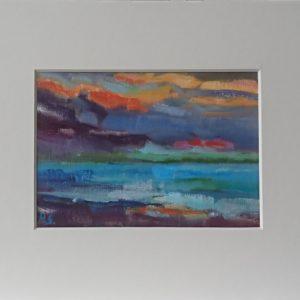 Domburg ondergaande zon Olieverf op professioneel papier in passe partout  - circa 9 x 13 cm