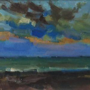 Domburg avond Olieverf op paneel - 13 x 18 cm