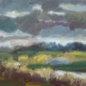 Donker weer Domburgse Watergang Walcheren Olieverf op linnen - 24 x 30 cm