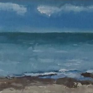 Zee Domburg augustus Olieverf op professioneel papier - 9 x 14 cm