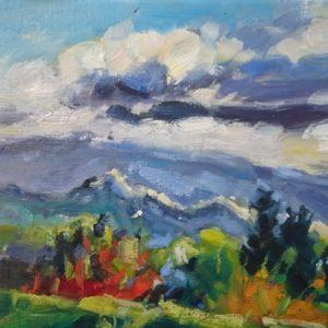 Ventoux couleurs d'automne Huile sur toile / Olieverf op linnen - 18 x 24 cm