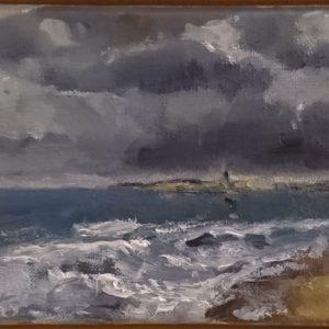 Brouwersdam view on/zicht op Ouddorp Oil on linen/Olieverf op linnen - 13 x 18 cm
