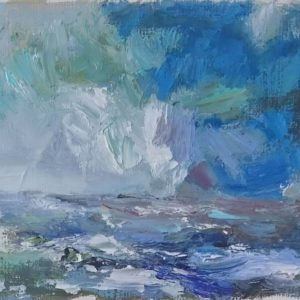 Noordzee Walcheren Oil on paper/Olieverf op professioneel papier in passe-partout - 10 x 14 cm