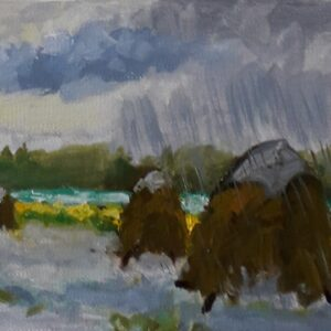 Hooibergjes in de regen Zoutelande Olieverf op professioneel papier in passe-partout - 10 x 14 cm