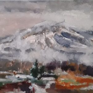 Mont Ventoux sneeuw en mist Olieverf op linnen - 24 x 30 cm